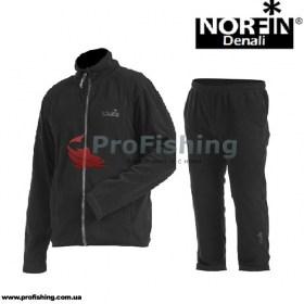 Костюм флисовый Norfin Denali - для охоты и рыбалки. Черный цвет.